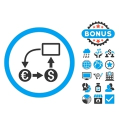 Cashflow Euro Exchange Flat Icon with Bonus vector image