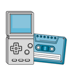 Cassette with video game handle nineties style vector