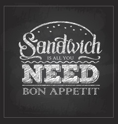 Chalk drawing typography sandwich menu design vector
