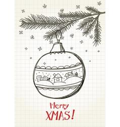 Christmas bauble on the christmas tree vector