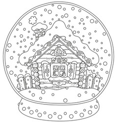 Christmas crystal ball with a snow-covered hut vector