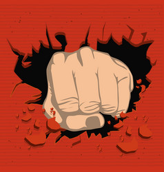 colorful realistic fist breaking wall vector image