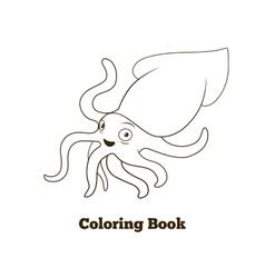 Coloring book squid fish cartoon vector image