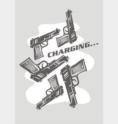 conceptual poster or t shirt design with guns char vector image