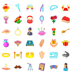 conjugal life icons set cartoon style vector image