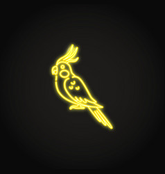 Corella parrot icon in glowing neon style vector