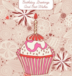Cupcake birthday card vector