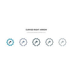 Curved right arrow icon in different style two vector