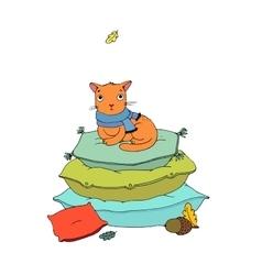 Cute cartoon cat on cushions vector image