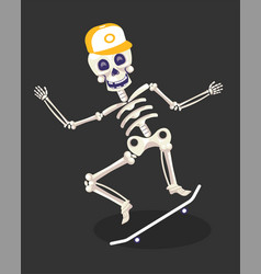 Day dead skeleton in cap riding skateboard vector