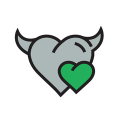 Devil mini heart icon green vector