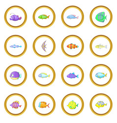 Different fish icons circle vector