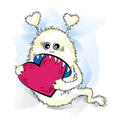 drawing cool monster in love st valentines vector image