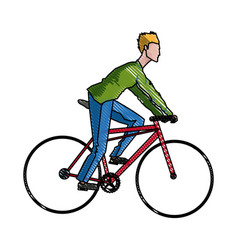 Drawing guy rider bike transport vector