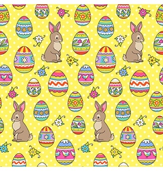 Easter pattern yellow bunny vector