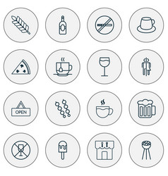 Eating icons set with plant tea wc and other vector