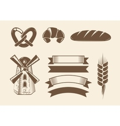 Elements for vintage bakery logotypes logos vector image