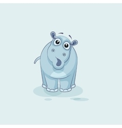 Emoji character cartoon Hippopotamus surprised vector
