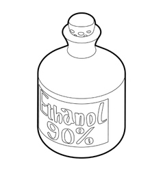 Ethanol in bottle icon outline style vector image