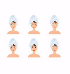 Face care routine steps how to apply make vector