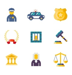 Flat law icons vector image