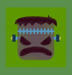 Flat shading style icon halloween monster vector