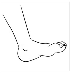 foot cartoon - line drawn vector image vector image