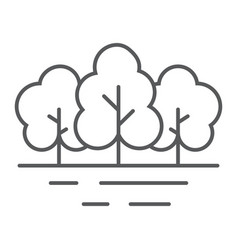 Forest thin line icon travel and tourism tree vector