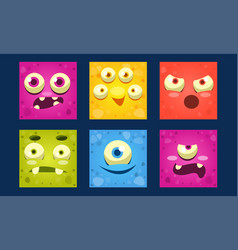 Funny monsters set colorful square mutant emojis vector
