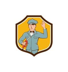 Gas jockey attendant waving shield cartoon vector