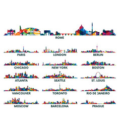 Geometric pattern skyline city america and europe vector