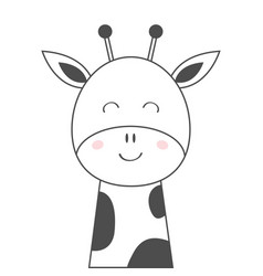 Giraffe face head line sketch icon kawaii animal vector