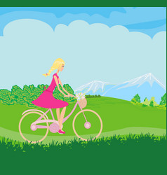 Girl is riding bike on spring field vector