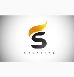 Gold s letter wings logo design with golden bird vector
