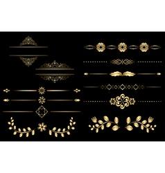 golden design elements with gradient vector image
