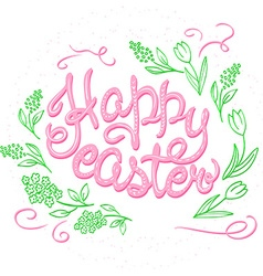 Hand drawn easter lettering greeting quote circled vector