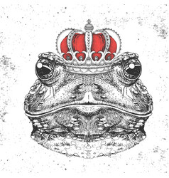 Hipster animal frog in crown hand drawing muzzle vector