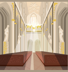 Interior of cathedral church or catholic basilica vector