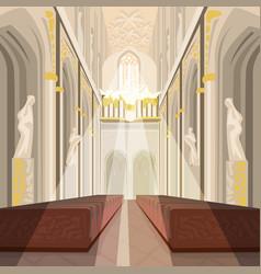 interior of cathedral church or catholic basilica vector image