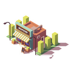 isometric fish and seafood shop vector image