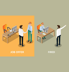 job offer and fired concept design elements vector image