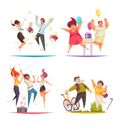 Jumping people concept icons set vector