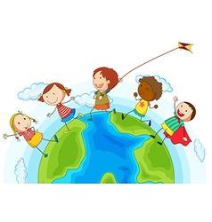 kids running around world vector image