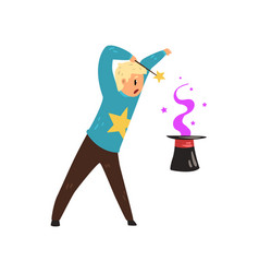 Magician showing focus with cylinder hat man vector