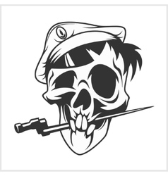 Military skull bite a dagger vector