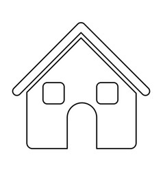 monochrome contour of house two floors in white vector image