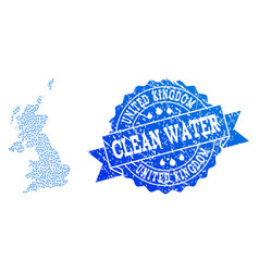 Mosaic map of united kingdom with water tears and vector