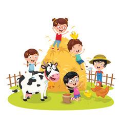 of farm kid vector image