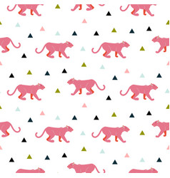 Pink panther animal seamless pattern vector