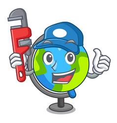 Plumber globe mascot cartoon style vector